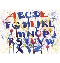Watercolor hand drawn alphabet vector