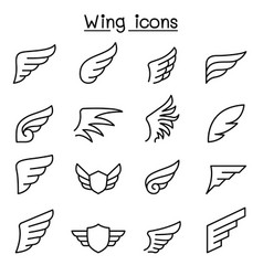 Wing icon set in thin line style vector