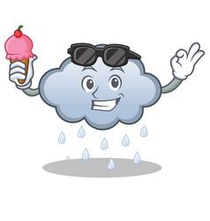 with ice cream rain cloud character cartoon vector image