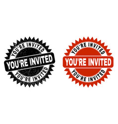 You re invited black rosette seal with rubber vector