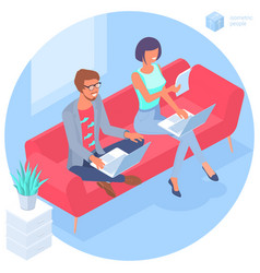 young man and woman communication in office vector image