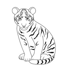 Young tigeranimals single icon in outline style vector