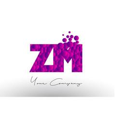Zm z m dots letter logo with purple bubbles vector