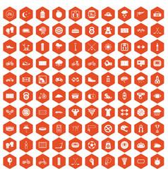 100 cycling icons hexagon orange vector