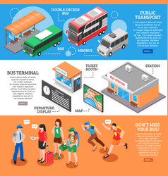 bus station isometric banners set vector image vector image