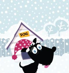 cartoon Christmas dog vector image vector image