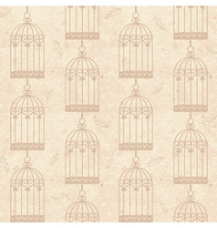 seamless old cardboard texture with bird cage vector image vector image