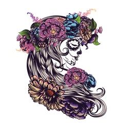 Sugar skull girl in flower crown3 vector