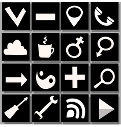 White and black icons vector image