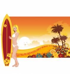 woman surfer vector image
