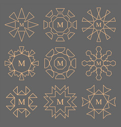 abstract line design company monogram set vector image