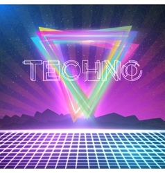 Abstract Techno 1980s Style Background with vector image