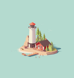 low poly lighthouse vector image vector image