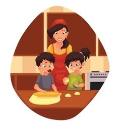 Mother and children preparing cookies in kitchen vector image