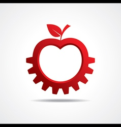 Red apple make gear shape business technology vector image vector image
