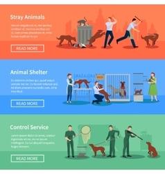 Stray Animals 3 Horizontal Banners Set vector image vector image