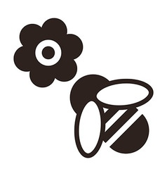 Bee and flower icon vector image