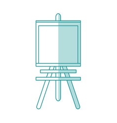 blue shading silhouette cartoon wooden easel for vector image