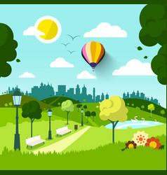 city park nature landscape green natural scene vector image vector image