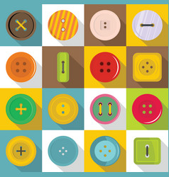 clothes button icons set flat style vector image