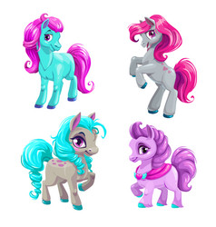 cute cartoon little horses set vector image vector image