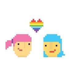Pixel art style two lesbian girls vector image