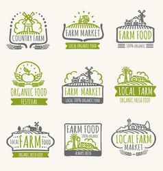 retro farm market signs vintage fresh organic vector image vector image