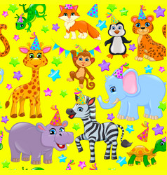 seamless animal pattern stars birthday cone on vector image