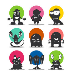 cute cartoon avatars and icons black monsters set vector image vector image