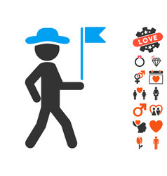 gentleman flag guide icon with dating bonus vector image vector image