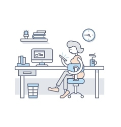 Girl in office looking into smartphone vector image