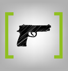 gun sign black scribble icon vector image vector image