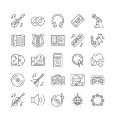 25 outline black music and musical instruments vector image