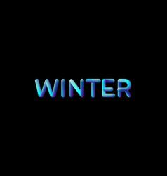 3d gradient winter season sign vector image