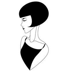 Abstract minimalistic vintage woman with short vector