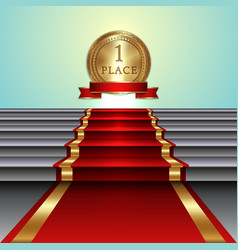 Abstract of red carpet on staircase and golden vector