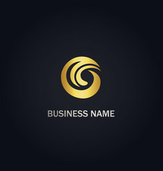 abstract wave g initial gold logo vector image