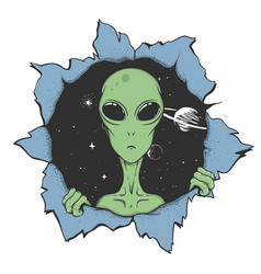 Alien looks out from hole space to us vector