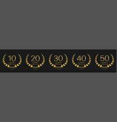 anniversary golden laurel wreath label set vector image