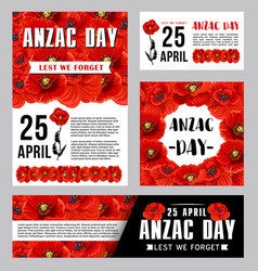 Anzac day banner template with red poppy flower vector