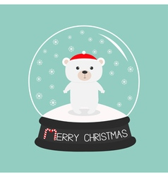 Arctic polar baby bear cub in red santa hat Cute vector