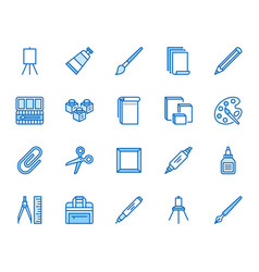 Art supplies flat line icons set oil paints vector