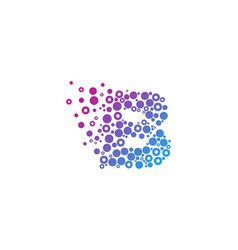 b particle letter logo icon design vector image