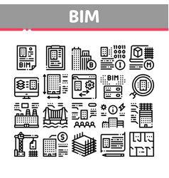 Bim building information modeling icons set vector