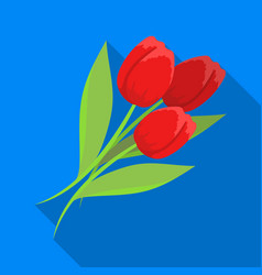 bouquet of red tulips easter single icon in flat vector image