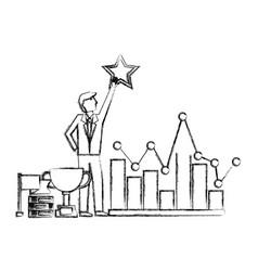 Businessman holding star chart trophy flag success vector