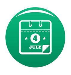 Calendar fourth july icon green vector