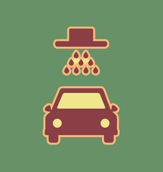 Car wash sign cordovan icon and mellow vector