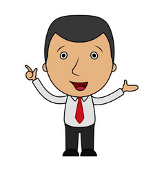 cartoon businessman pointing his finger up vector image
