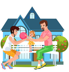cartoon happy family spending time together vector image